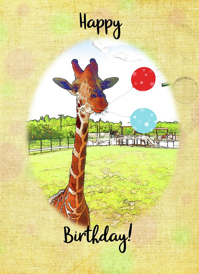Cute Giraffe with Birthday Balloons by Jacqueline Sleter