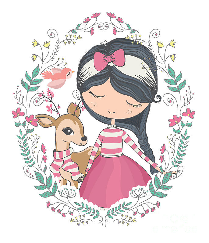 Typography Digital Art - Cute Girl And Little Deer Vector Design by Studiolondon