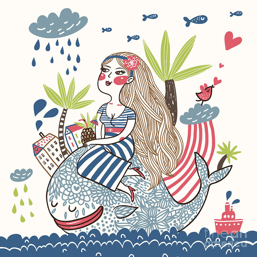 Beauty Digital Art - Cute Girl On A Whale In Cartoon Style by Smilewithjul