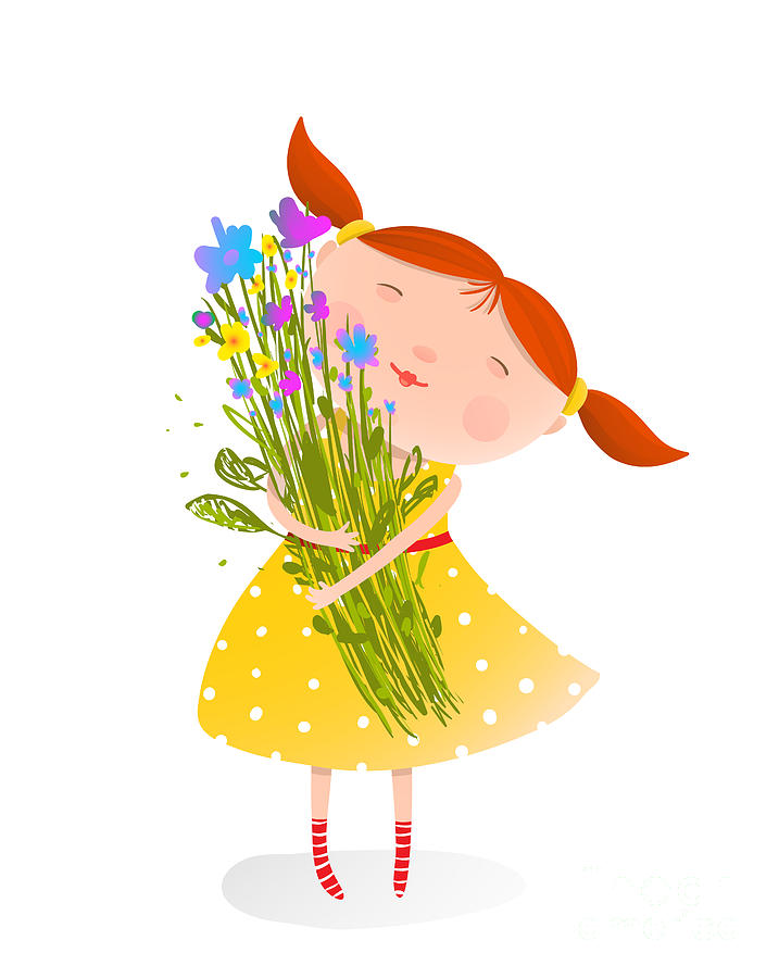 Small Digital Art - Cute Girl With Bouquet Of Flowers by Popmarleo