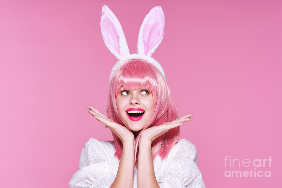 Cute Girl With Rabbit Ears, Easter Photograph by Shotprime