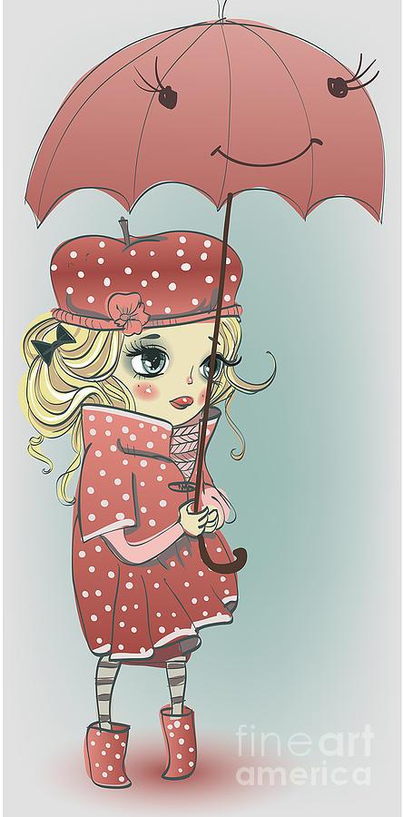 Beauty Digital Art - Cute Girl With Umbrella by Elena Barenbaum