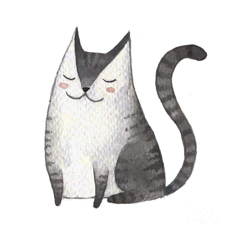 Fur Digital Art - Cute Gray Cat. Watercolor Kids by Maria Sem
