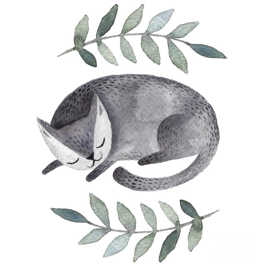 Fur Digital Art - Cute Gray Sleeping Cat. Watercolor Kids by Maria Sem
