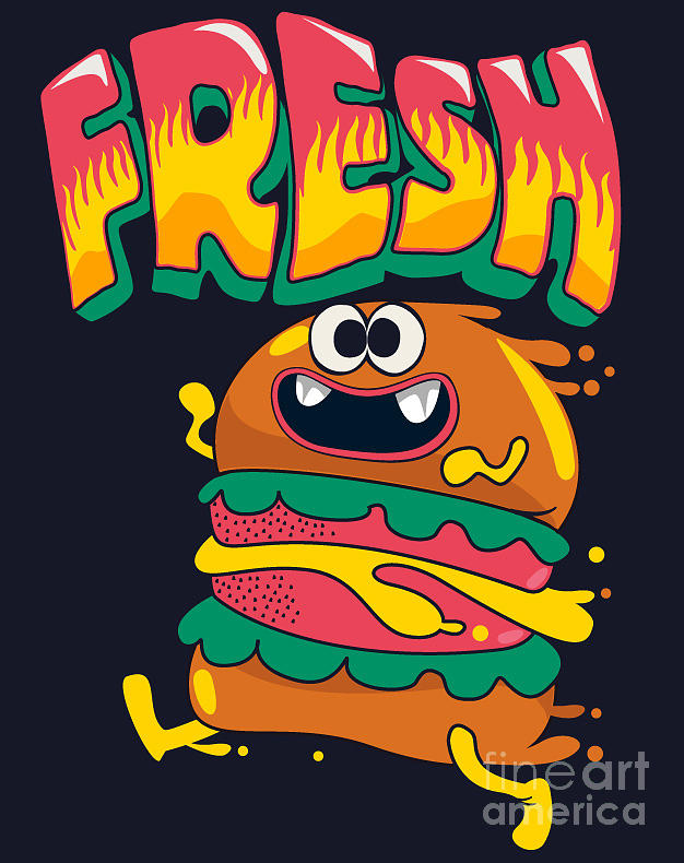 Lunch Digital Art - Cute Hamburger Is Running Vector by Braingraph