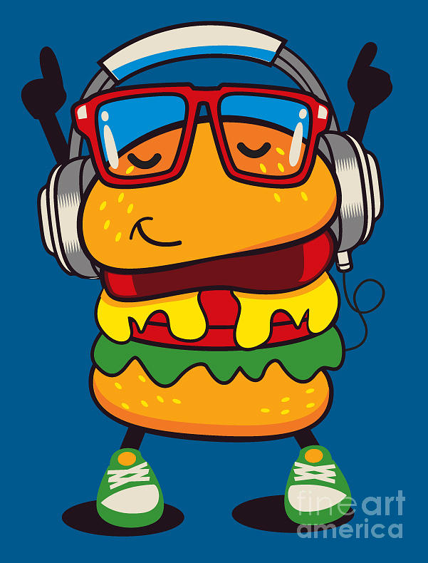 Lunch Digital Art - Cute Hamburger Vector Design by Braingraph