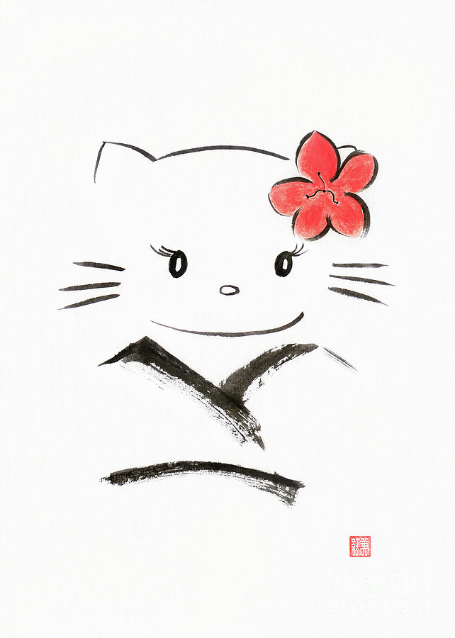 Cute Hello Kitty In A Kimono Kawaii Japanese Cartoon Cat Charact
