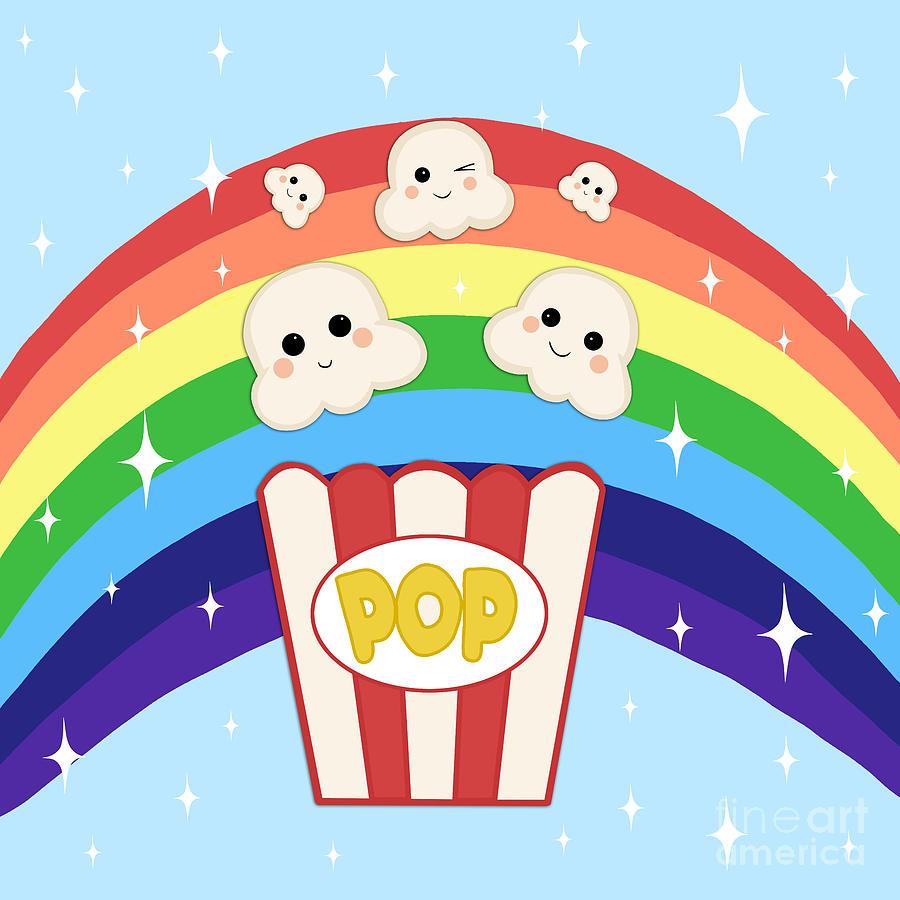 Popcorn kawaii. Cute