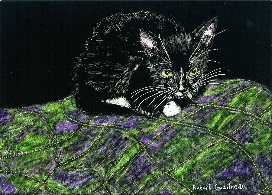 Tuxedo Cat Painting - Cute Kitty by Robert Goudreau