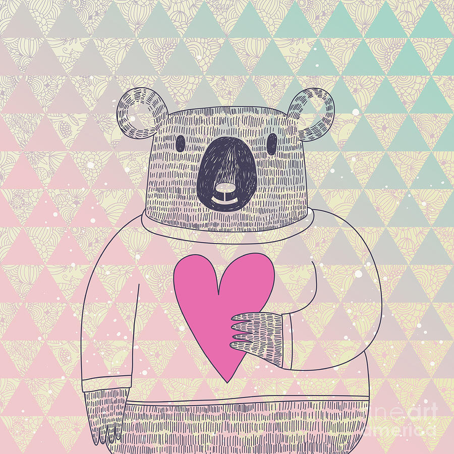 Friendly Digital Art - Cute Koala Bear In Hipster Style. Funny by Smilewithjul