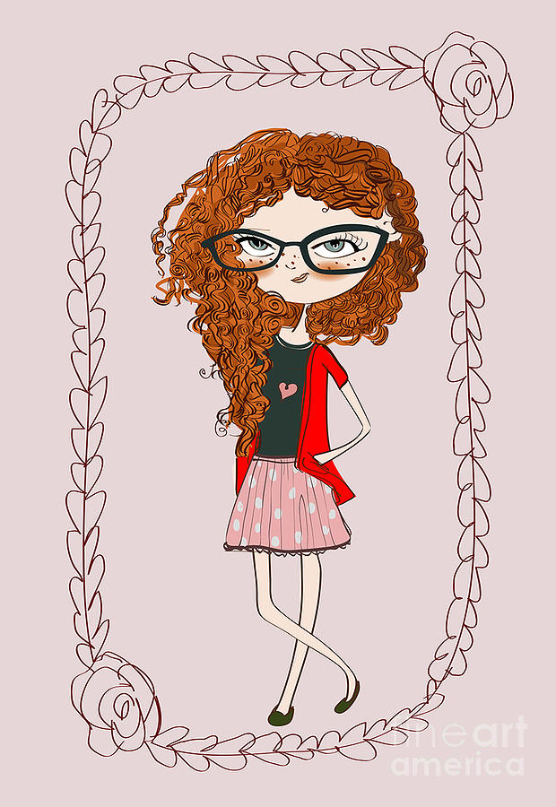Play Digital Art - Cute Little Fashion Girl With Doodle by Elena Barenbaum