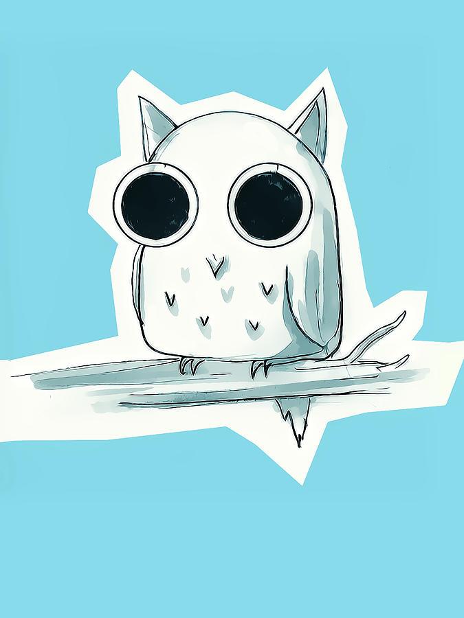 Cute Owl Drawing Digital Art By Jaime Enriquez