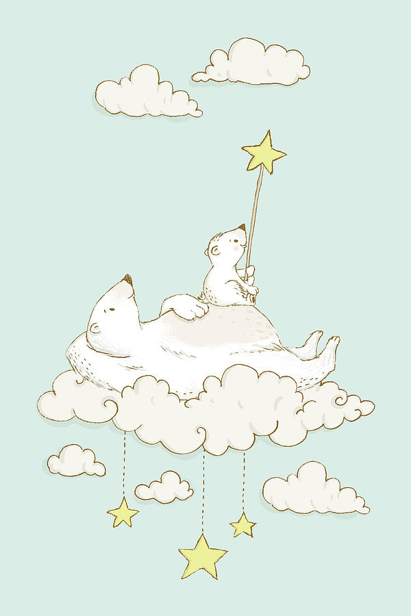 Cute Polar Bears on cloud Whimsical Art for Kids by Matthias Hauser
