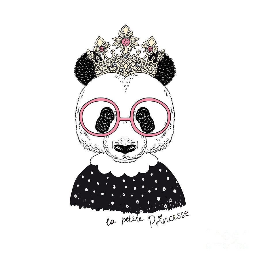 Fancy Digital Art - Cute Portrait Of Panda Princess, Hand by Olga angelloz