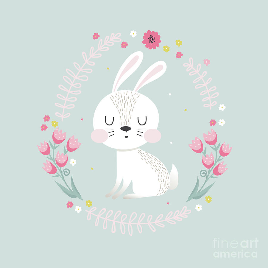 Cute Rabbit With Floral Frame Digital Art by Yulia337