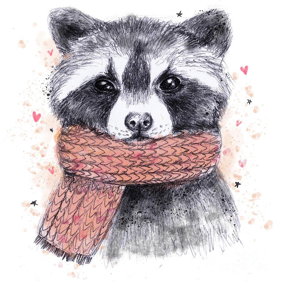 Scarf Digital Art - Cute Raccoon With Scarf , Sketchy by Maria Sem
