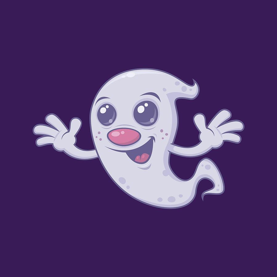 Cute Retro Ghost Digital Art