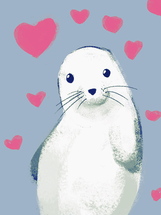 Cute Seal Digital Art By Jaime Enriquez