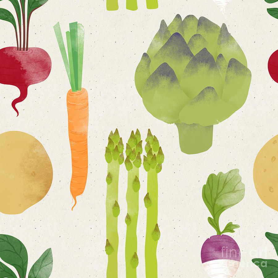 Color Digital Art - Cute Seamless Vegetable Pattern by Irtsya