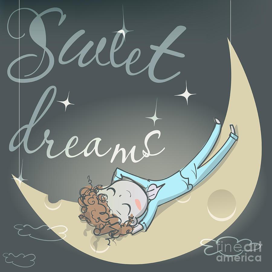 Bed Digital Art - Cute Sleeping Girl On The Moon by Elena Barenbaum