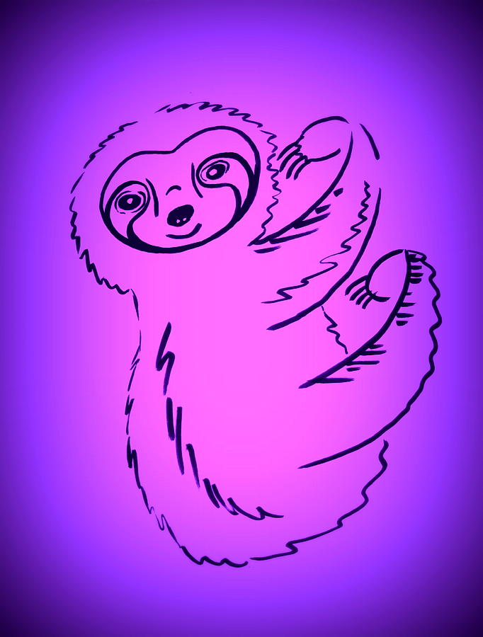 Cute Sloth Drawing By Cathy In Pink And Purple Painting