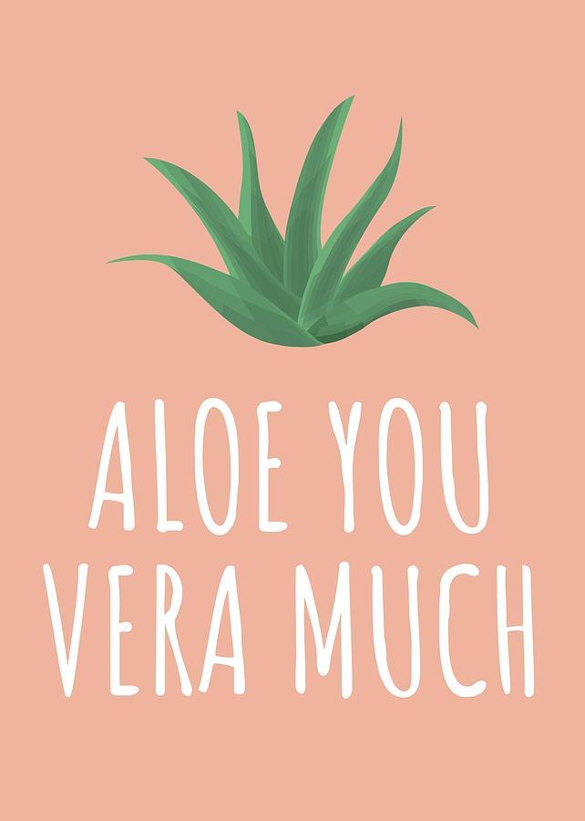 Cute Succulent Card Valentine Card Aloe You Vera Much Succulent Love Card Aloe Vera Lover