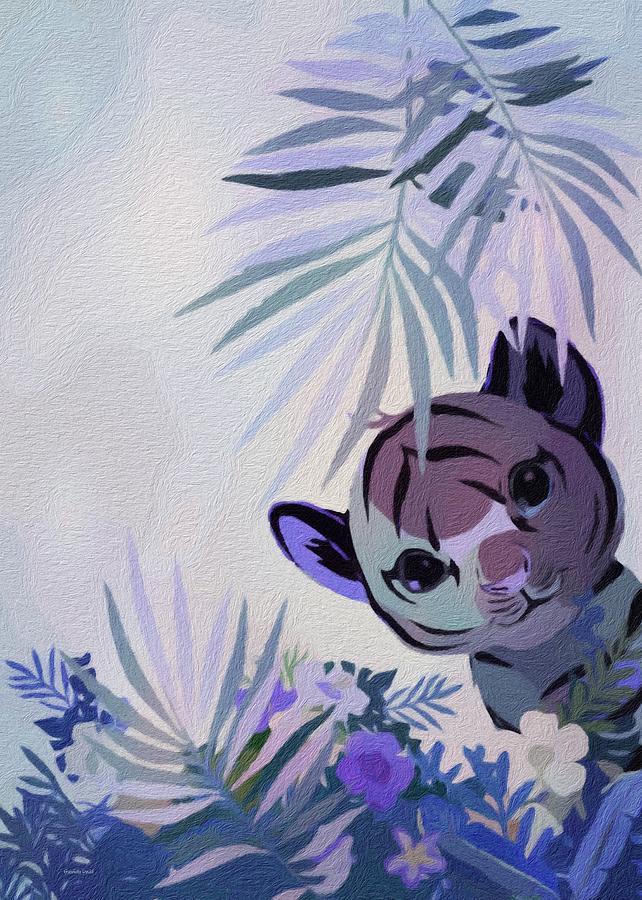 Cute Tiger Abstract Mixed Media