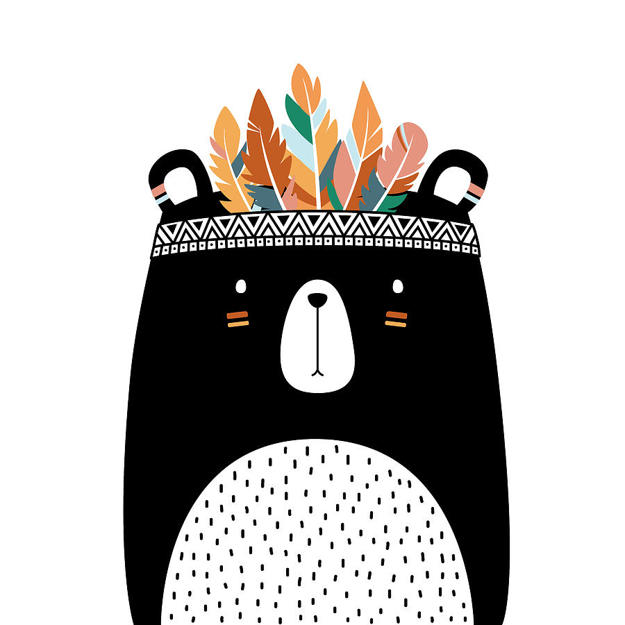 Cute Tribal Bear - Boho Chic Ethnic Nursery Art Poster Print by Dadada Shop