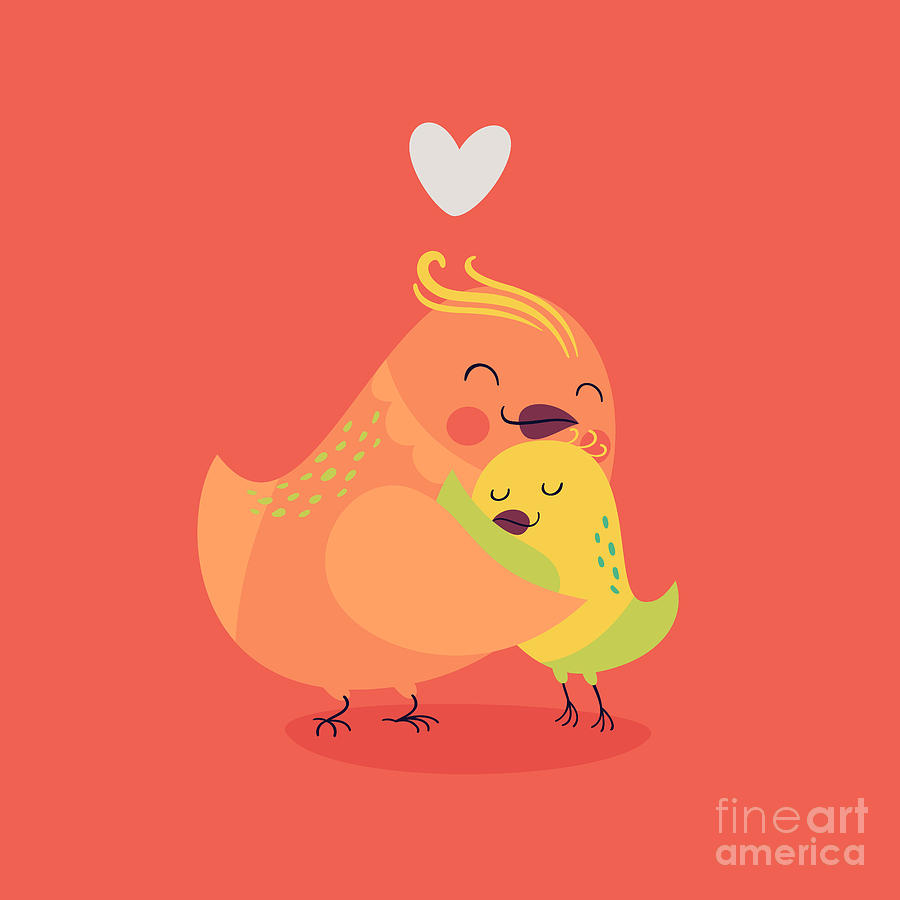 Love Digital Art - Cute Vector Cartoon Decorative Birds by Mascha Tace