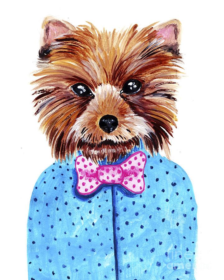 Pets Digital Art - Cute Watercolor Yorkshire Terrier by Maria Sem