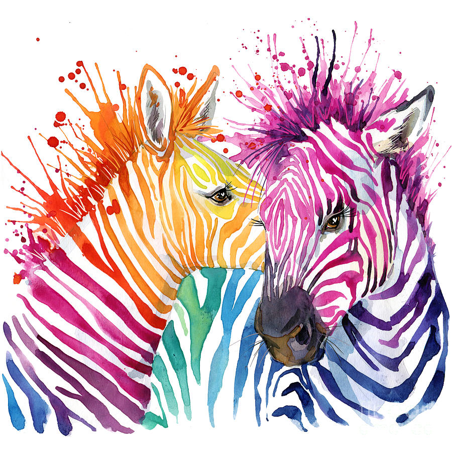 Safari Digital Art - Cute Zebra. Watercolor Illustration by Faenkova Elena