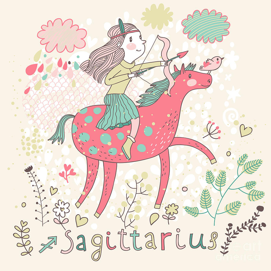 Symbol Digital Art - Cute Zodiac Sign - Sagittarius. Vector by Smilewithjul