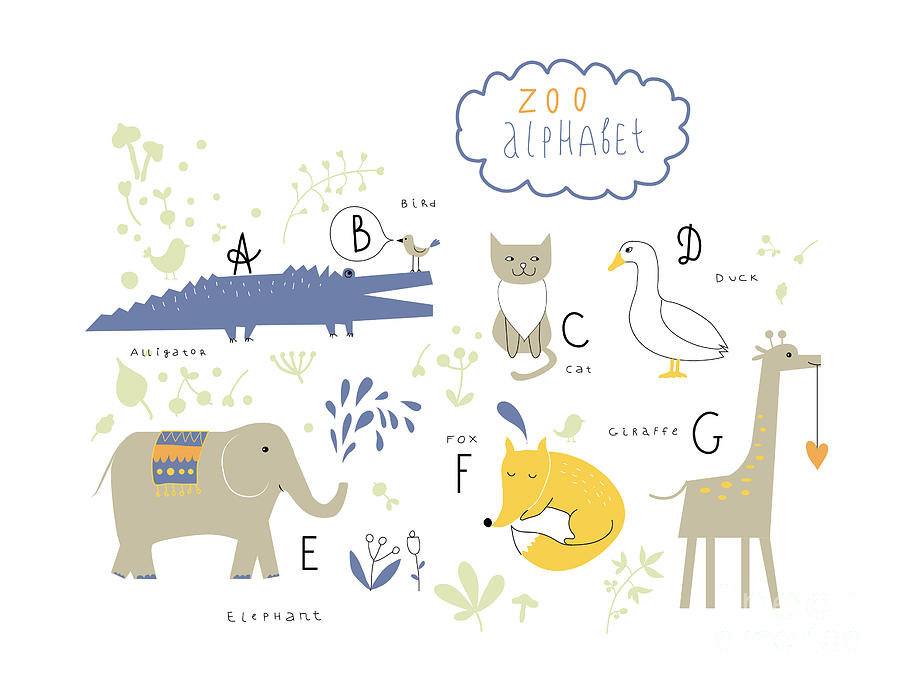 Alligator Digital Art - Cute Zoo Alphabet In Vector . A, B, C by Lera Efremova
