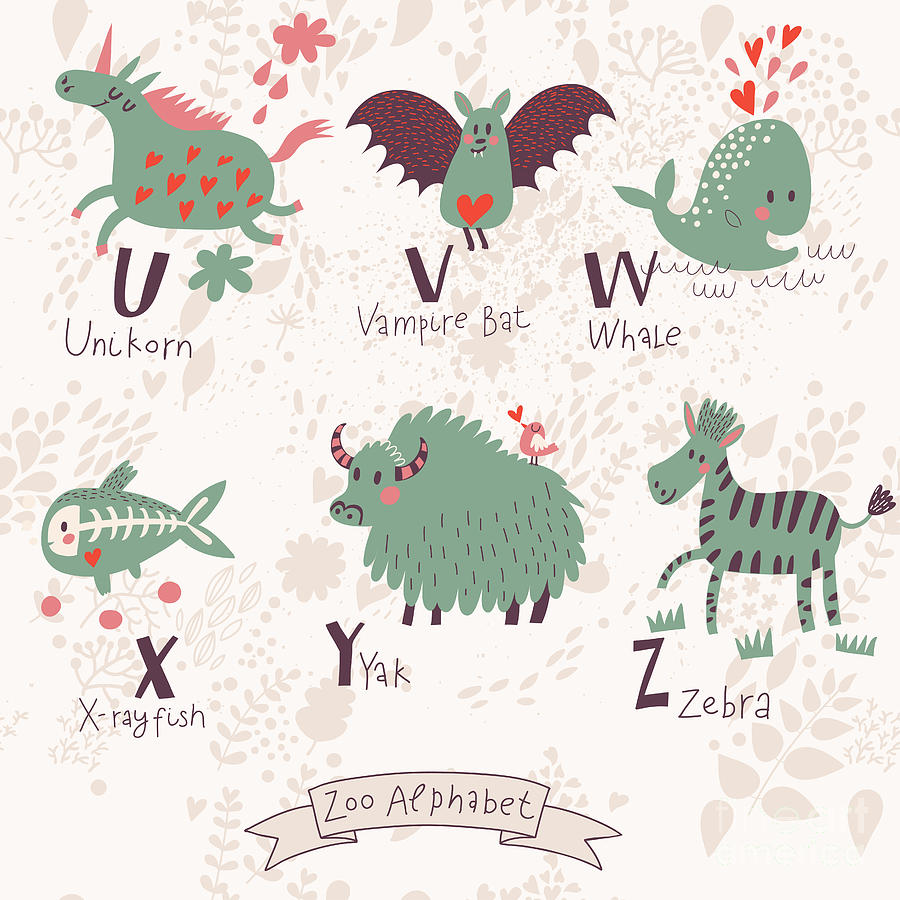 Typography Digital Art - Cute Zoo Alphabet In Vector. U, V, W by Smilewithjul