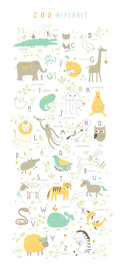 Typography Digital Art - Cute Zoo Alphabet With Funny Animals In by Lera Efremova