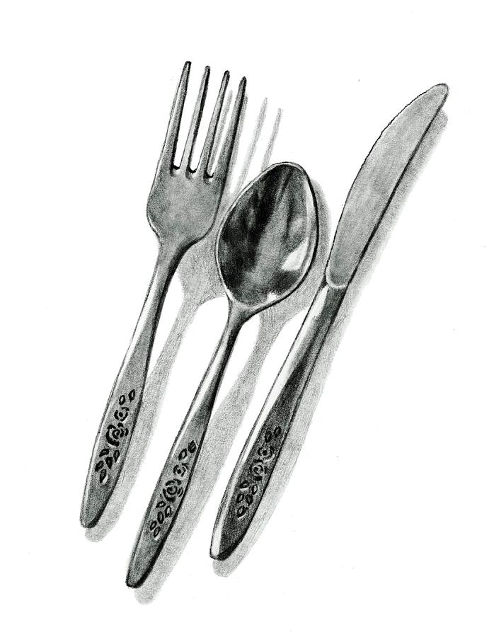 Cutlery In Pencil Drawing