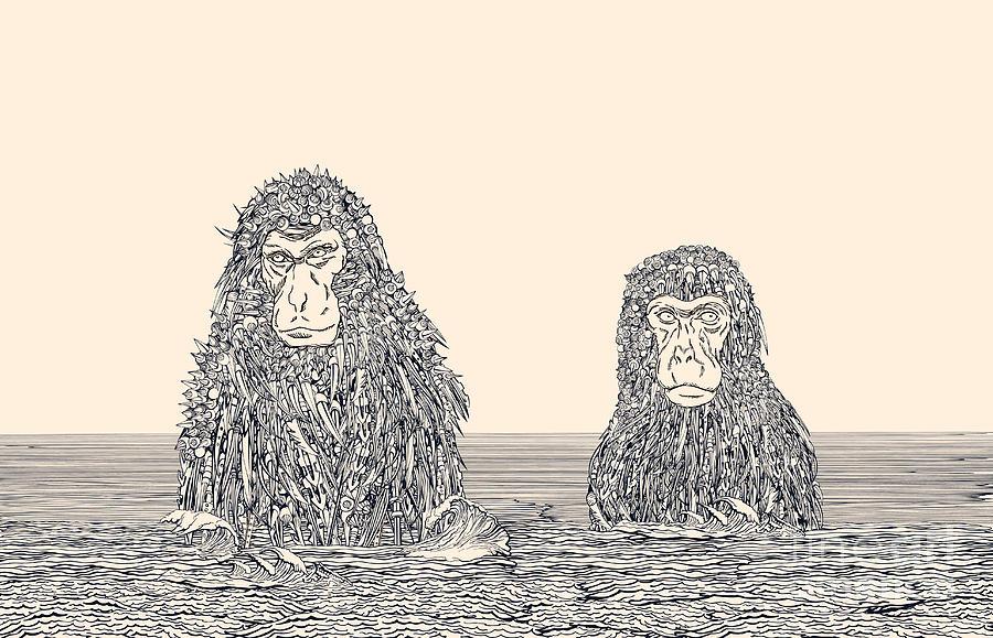 Monkey Digital Art - Cyborg Monkey Meditation.two Monkeys In by Ryger