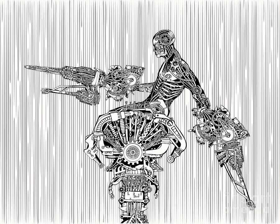 Steampunk Digital Art - Cyborg War by Ryger