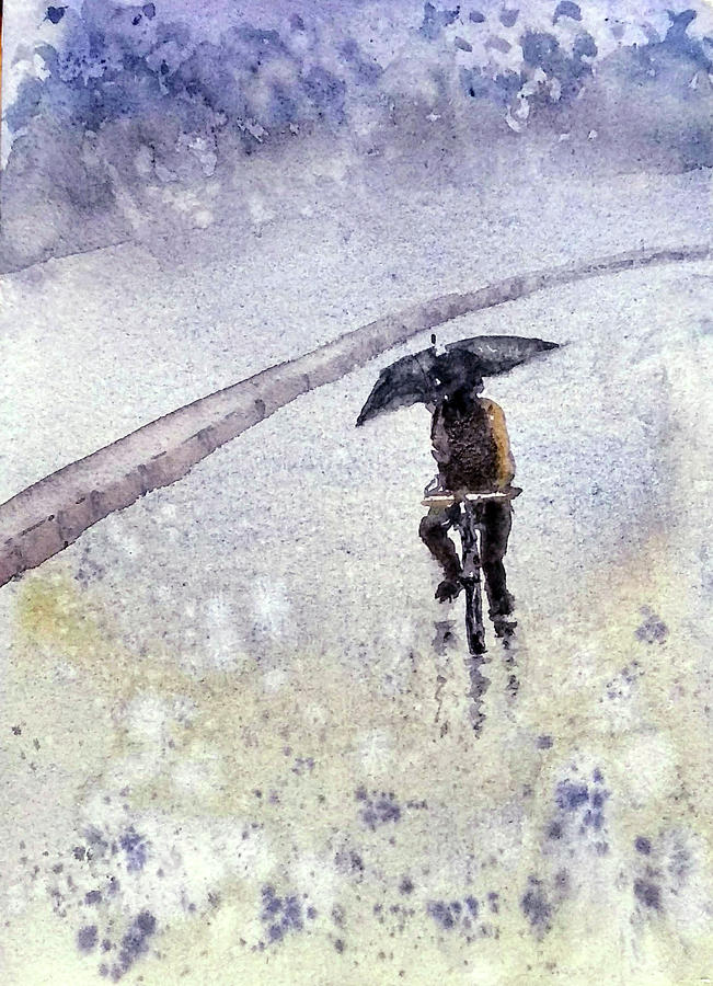 Cyclist in Rain by Asha Sudhaker Shenoy