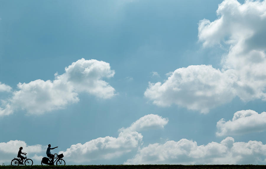 Cyclists Silhouettes Photograph by Zmeel