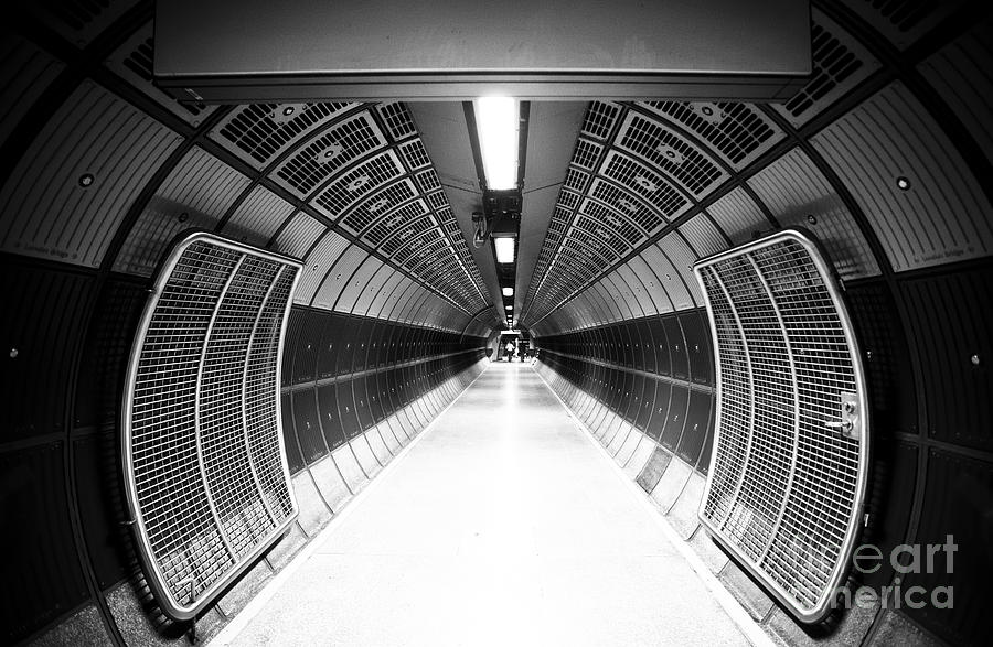 Steel Photograph - Cylindric Tunnel For Pedestrians by Jose As Reyes