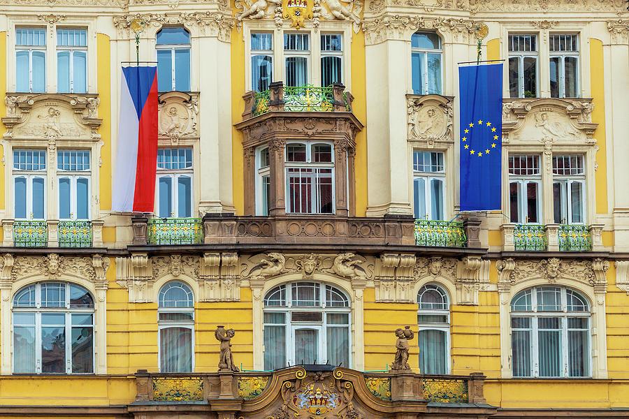 Prague Photograph - Czech Facade by Andrew Soundarajan