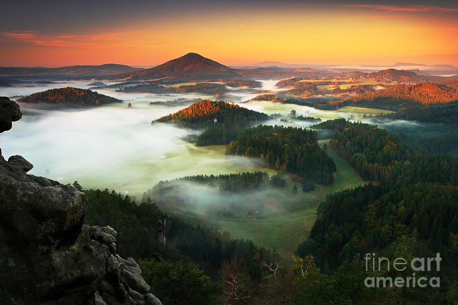 Plane Photograph - Czech Typical Autumn Landscape. Hills by Ondrej Prosicky