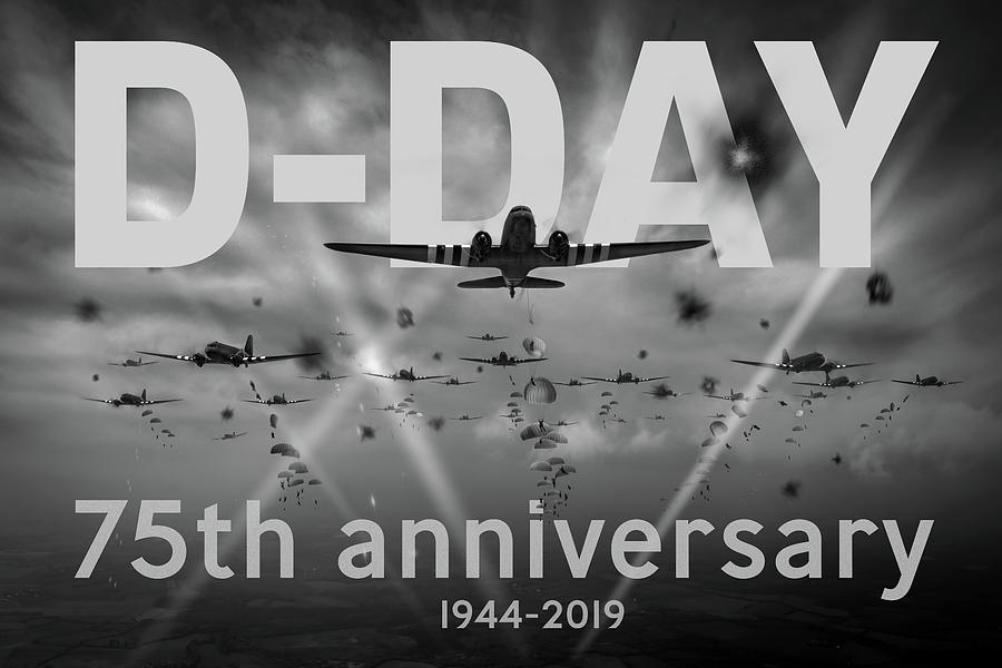 D-Day 75th poster BW version by Gary Eason