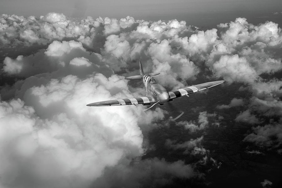D-Day Spitfire patrol black-and-white version by Gary Eason