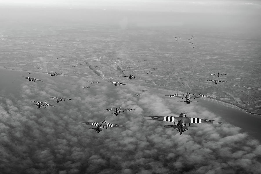 D-Day Stirlings and gliders BW version by Gary Eason