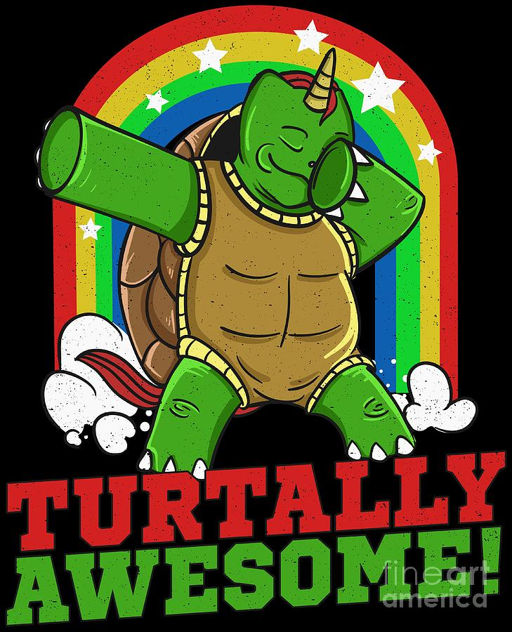 Dabbing Turtle Turtally Awesome Funny Sea Turtle Pun