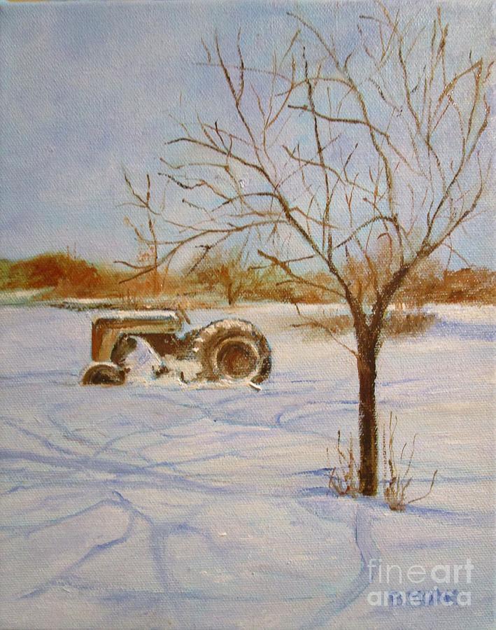 Impressionistic Landscape Painting - Dads Old Massey Ferguson 65 by Barbara Moak