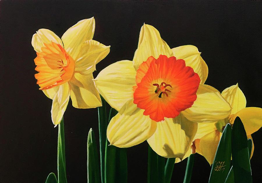 Daffodils Painting - Daffodils by Gary Hernandez