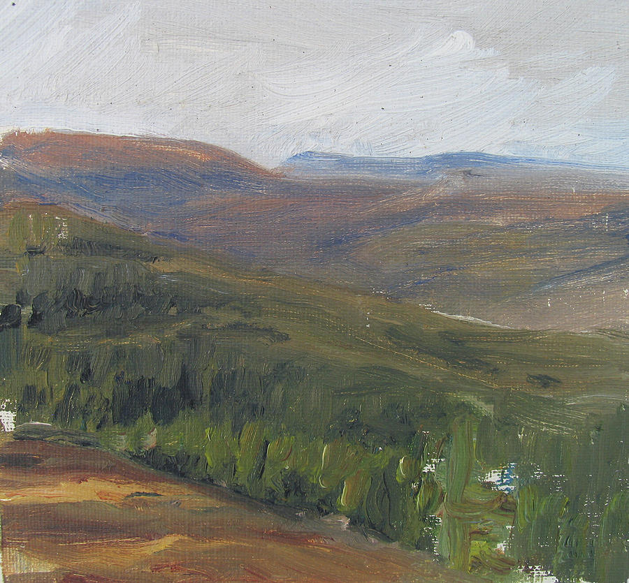 Landscape Painting - dagrar over salenfjallen- Shifting daylight over mountain ridges, 1 of 12_0034_60x60 cm by Marica Ohlsson